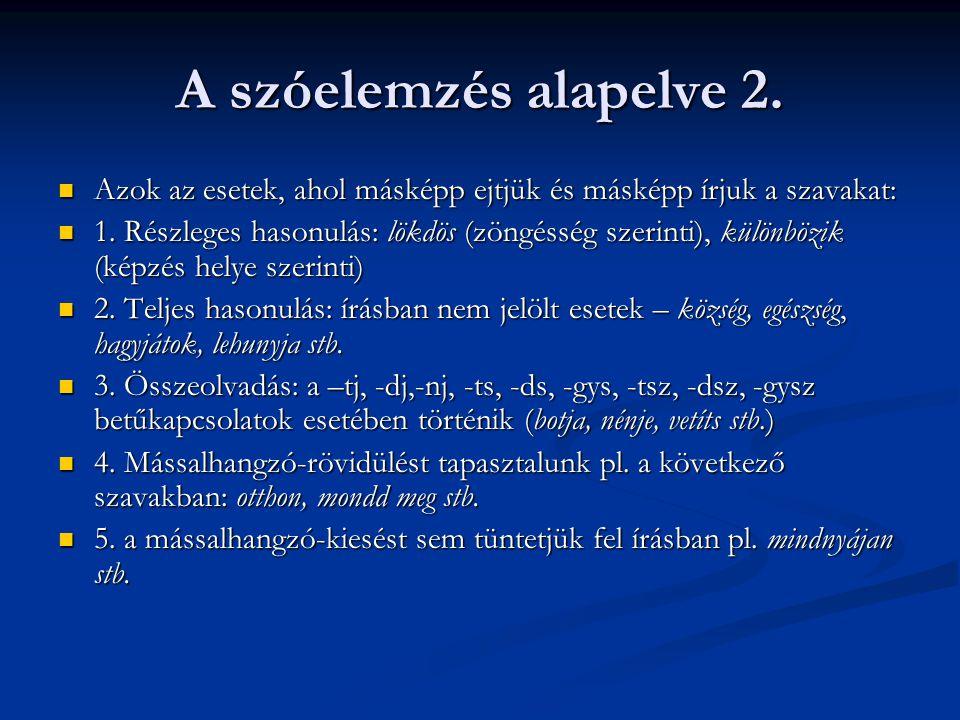 A szóelemzés alapelve 2. Azok az esetek, ahol másképp ejtjük és másképp írjuk a szavakat:
