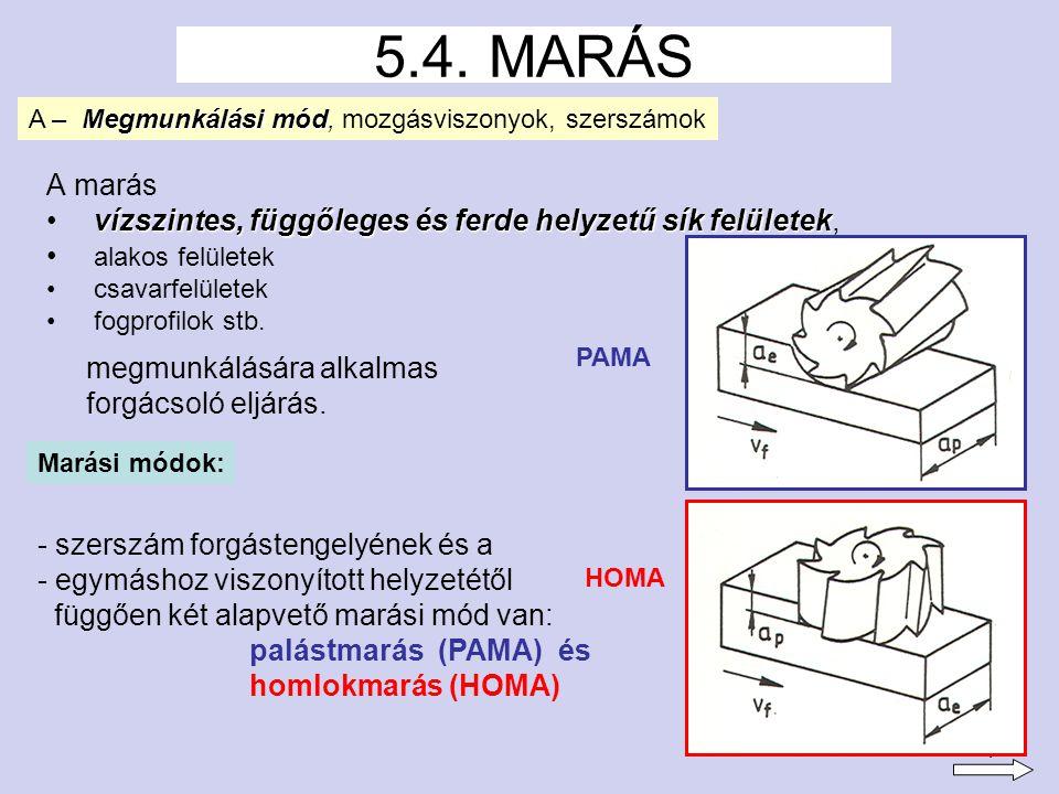 5.4. MARÁS A – Megmunkálási mód, mozgásviszonyok, szerszámok. A marás. vízszintes, függőleges és ferde helyzetű sík felületek,