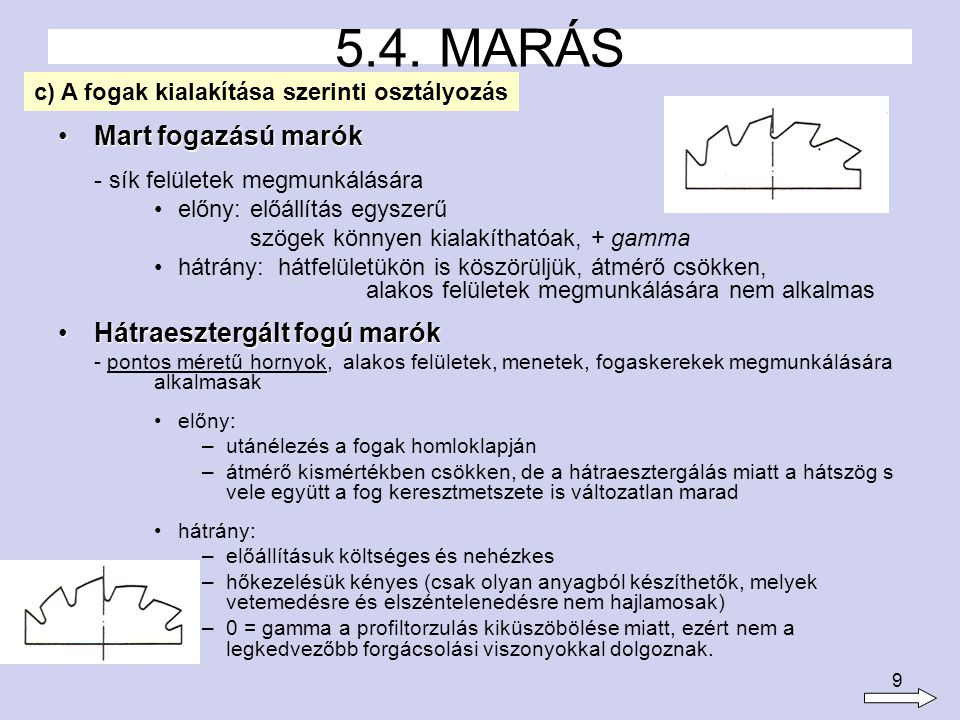 5.4. MARÁS Mart fogazású marók Hátraesztergált fogú marók