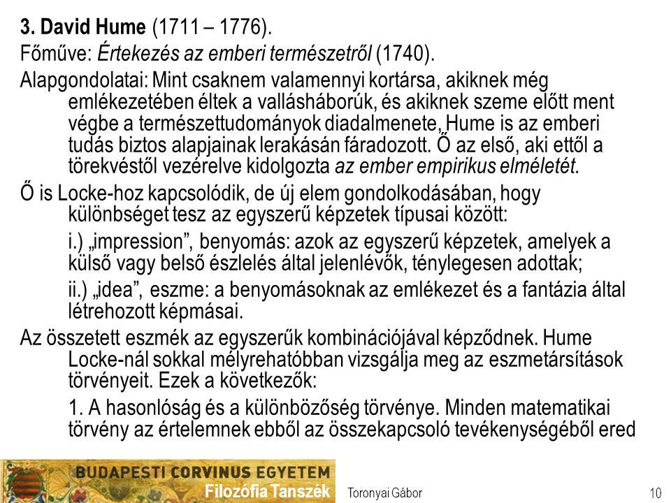 Főműve: Értekezés az emberi természetről (1740).