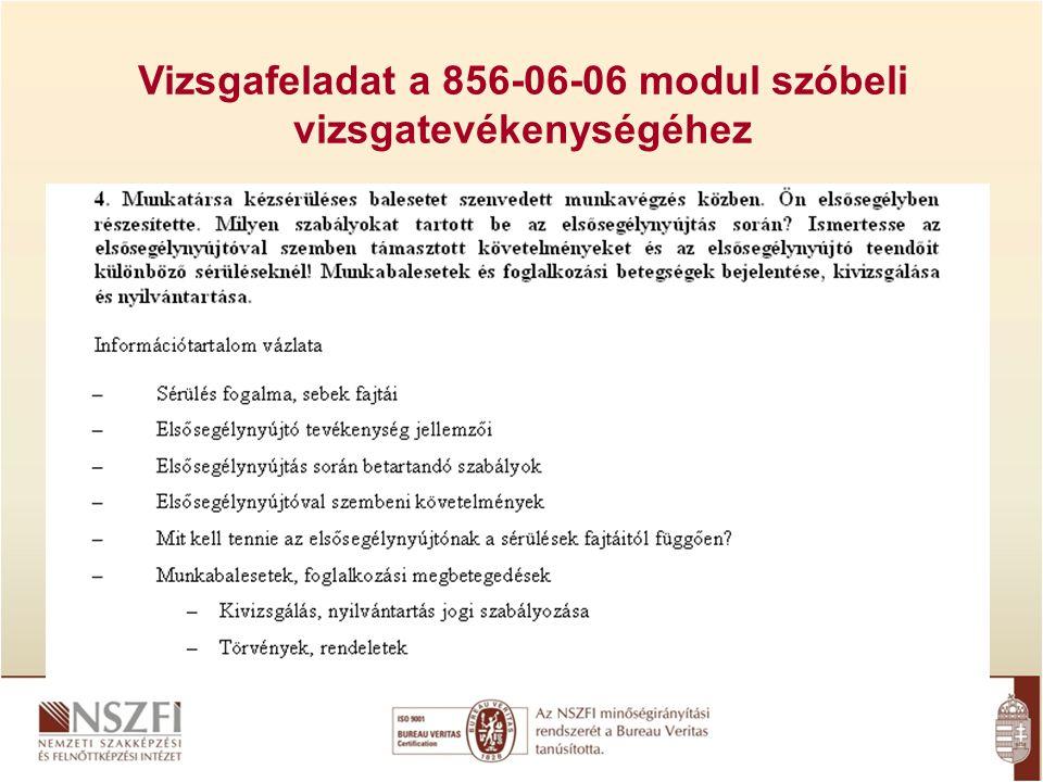 Vizsgafeladat a 856-06-06 modul szóbeli vizsgatevékenységéhez