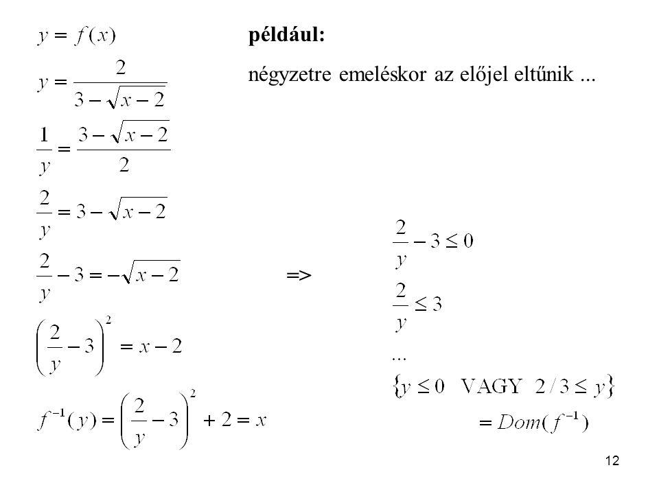 például: négyzetre emeléskor az előjel eltűnik ... =>