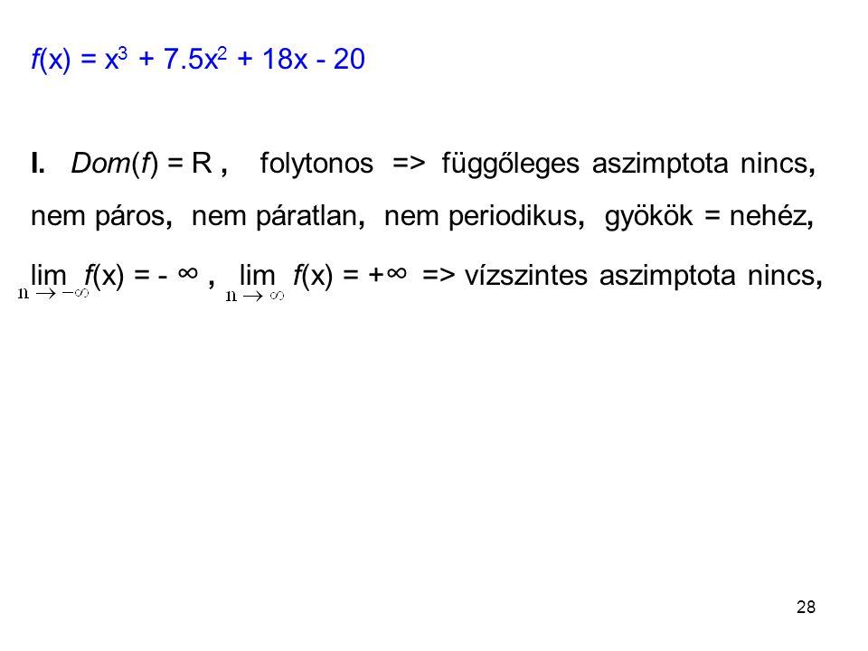 f(x) = x3 + 7.5x2 + 18x - 20 I. Dom(f) = R , folytonos => függőleges aszimptota nincs,