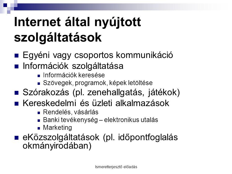 Internet által nyújtott szolgáltatások