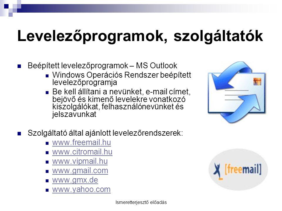 Levelezőprogramok, szolgáltatók