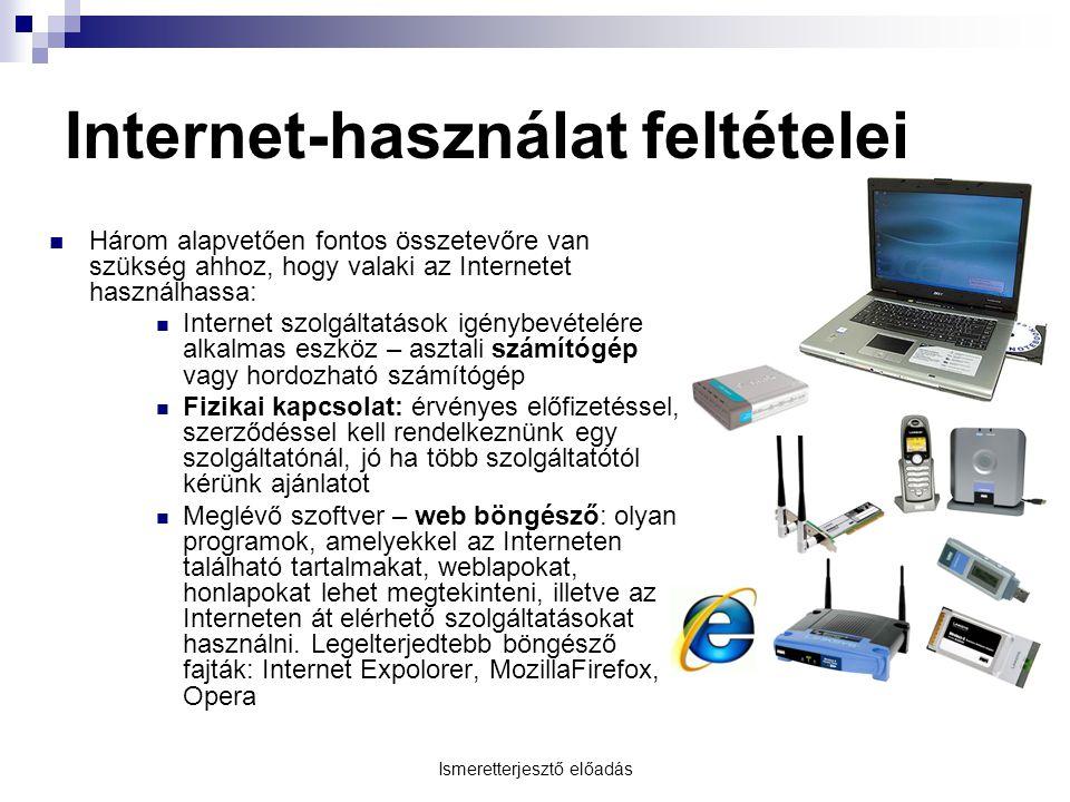Internet-használat feltételei
