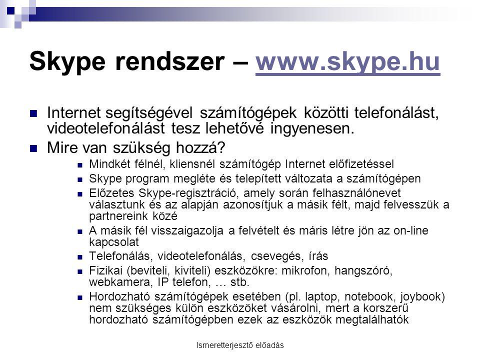 Skype rendszer – www.skype.hu