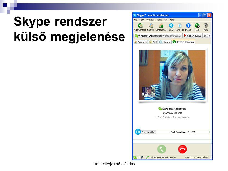 Skype rendszer külső megjelenése