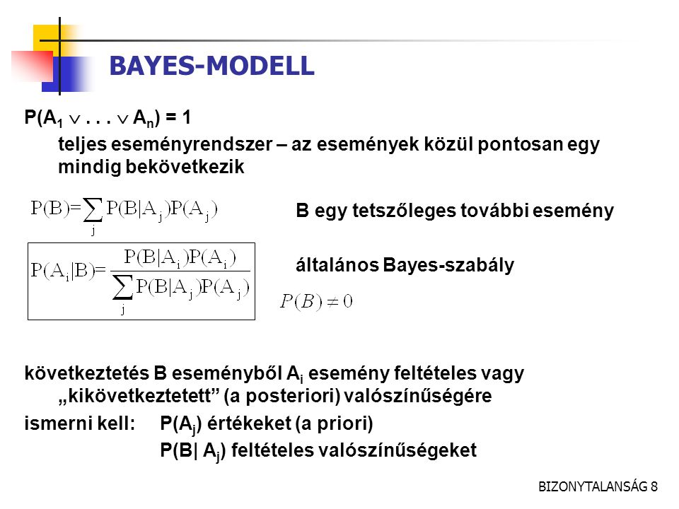 BAYES-MODELL P(A1  . . .  An) = 1