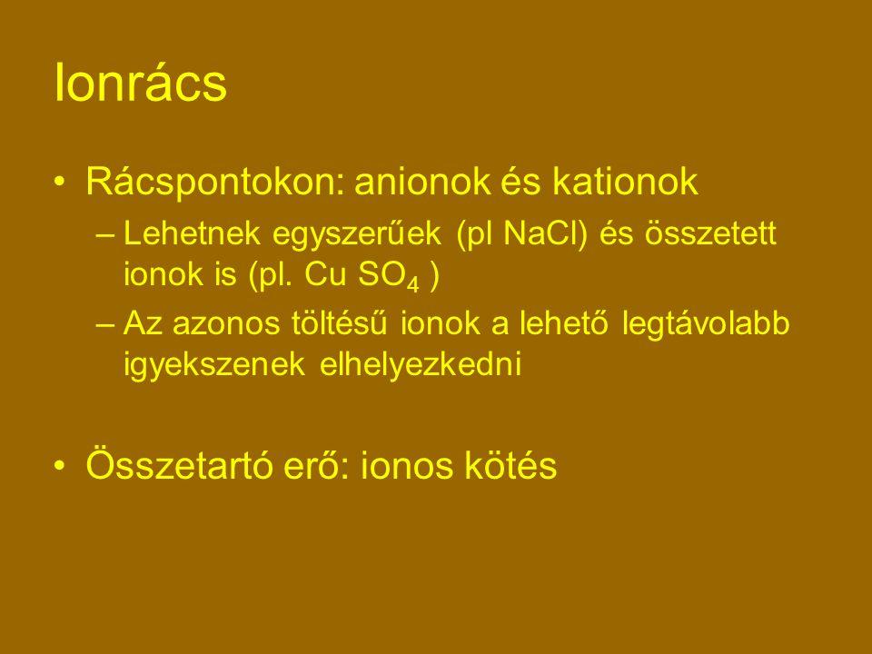 Ionrács Rácspontokon: anionok és kationok Összetartó erő: ionos kötés