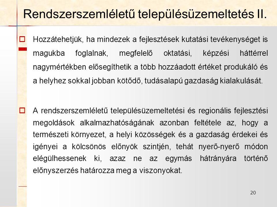 Rendszerszemléletű településüzemeltetés II.