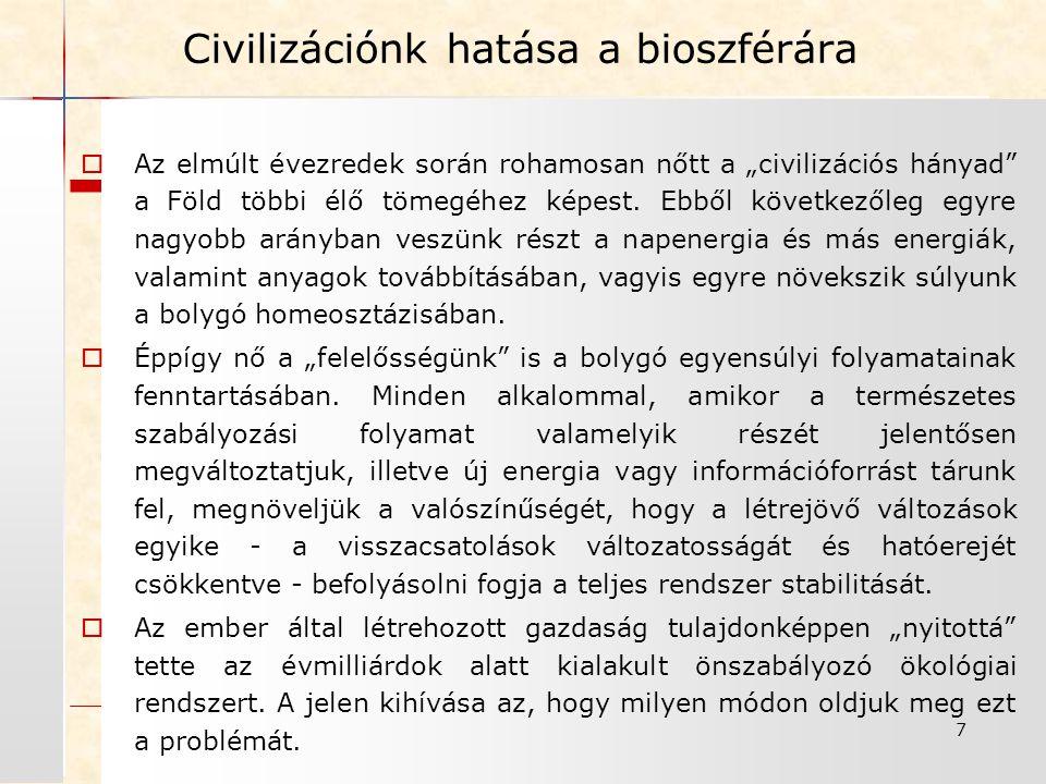 Civilizációnk hatása a bioszférára