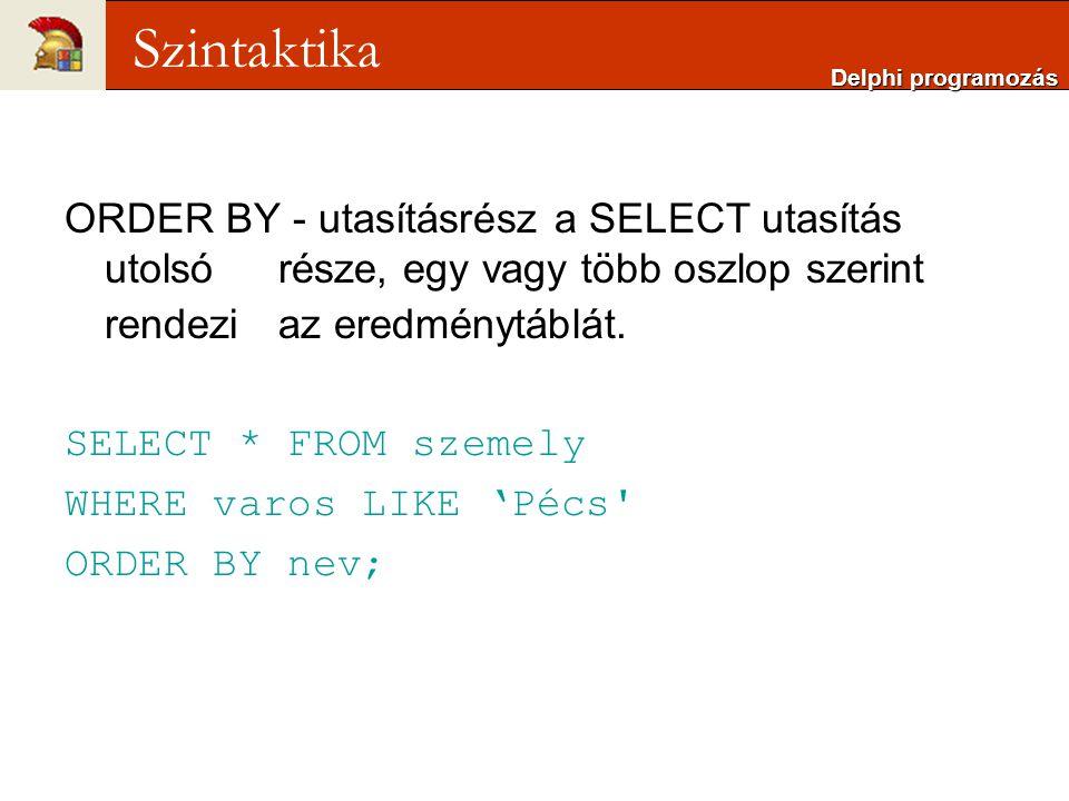Delphi programozás Szintaktika. ORDER BY - utasításrész a SELECT utasítás utolsó része, egy vagy több oszlop szerint rendezi az eredménytáblát.