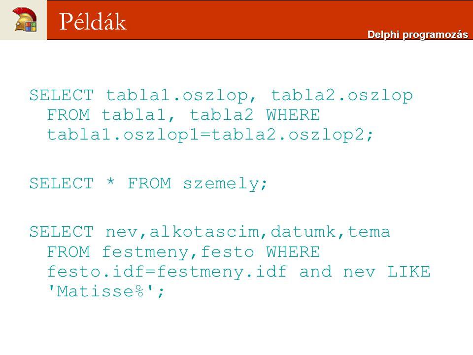 Delphi programozás Példák. SELECT tabla1.oszlop, tabla2.oszlop FROM tabla1, tabla2 WHERE tabla1.oszlop1=tabla2.oszlop2;