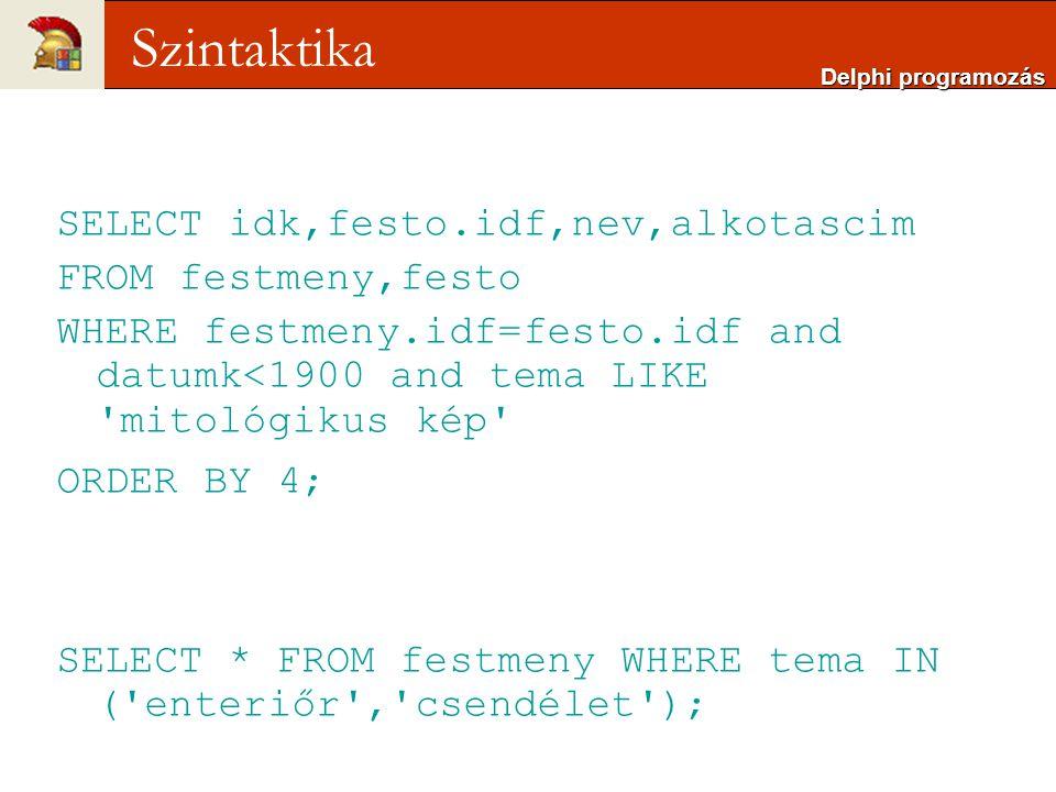 Szintaktika SELECT idk,festo.idf,nev,alkotascim FROM festmeny,festo