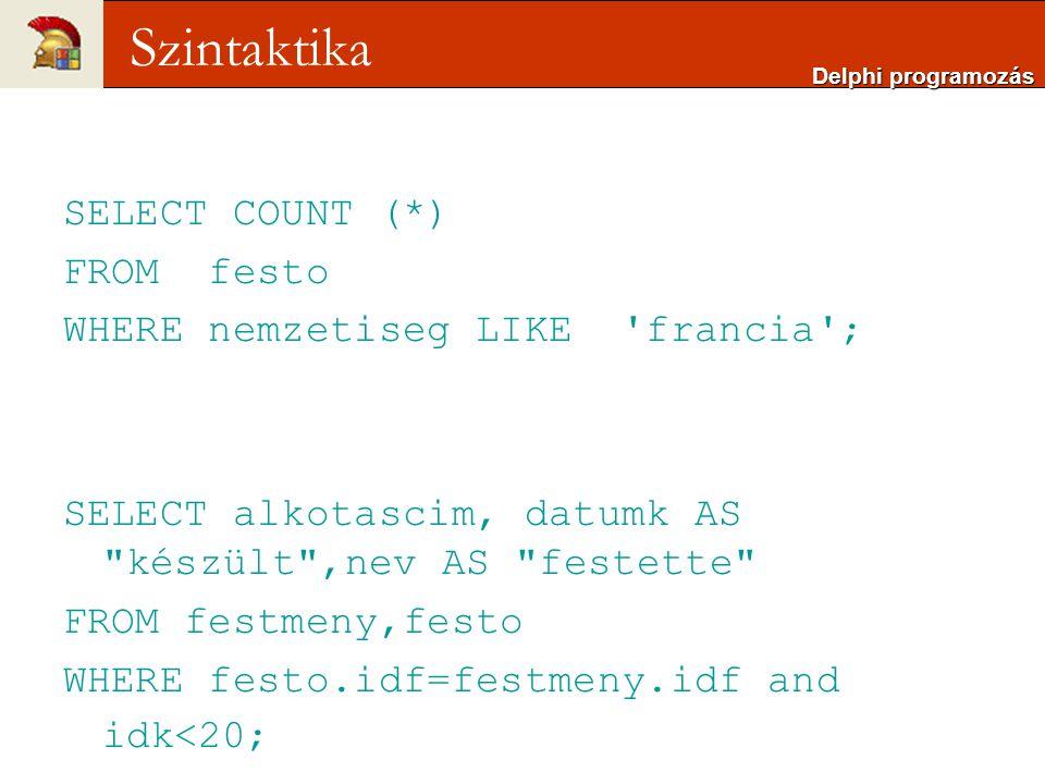 Szintaktika SELECT COUNT (*) FROM festo