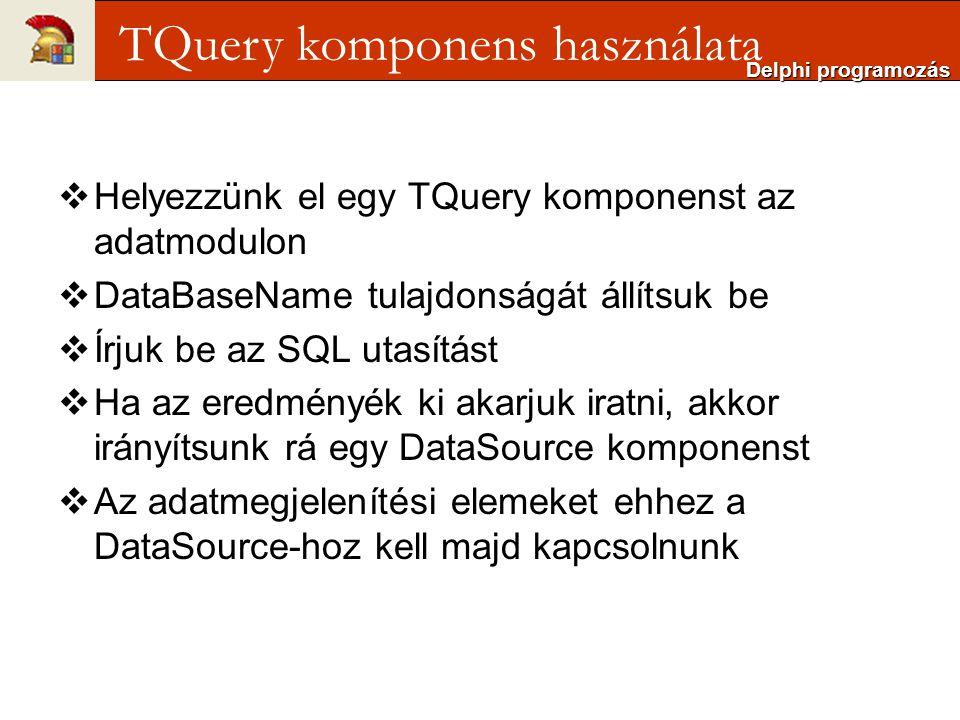 TQuery komponens használata