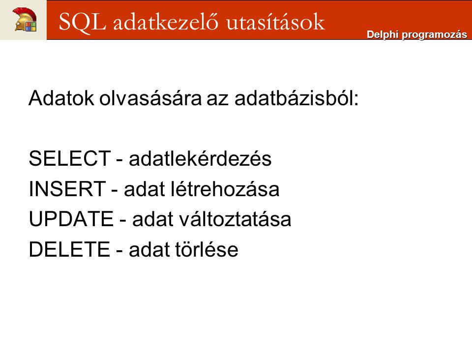 SQL adatkezelő utasítások