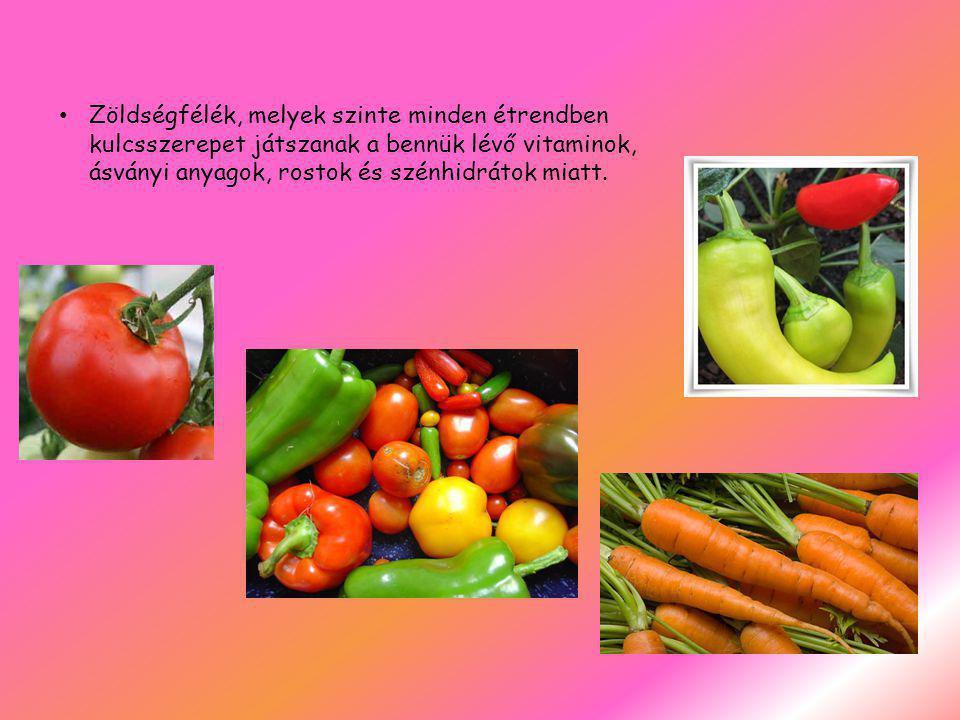 Zöldségfélék, melyek szinte minden étrendben kulcsszerepet játszanak a bennük lévő vitaminok, ásványi anyagok, rostok és szénhidrátok miatt.