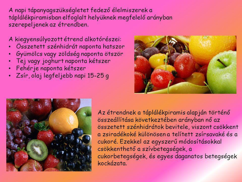 A napi tápanyagszükségletet fedező élelmiszerek a táplálékpiramisban elfoglalt helyüknek megfelelő arányban szerepeljenek az étrendben.