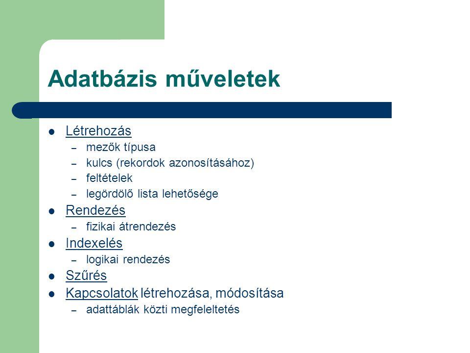 Adatbázis műveletek Létrehozás Rendezés Indexelés Szűrés