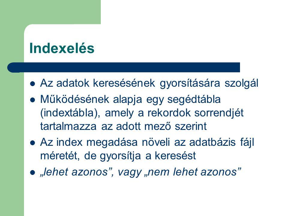 Indexelés Az adatok keresésének gyorsítására szolgál