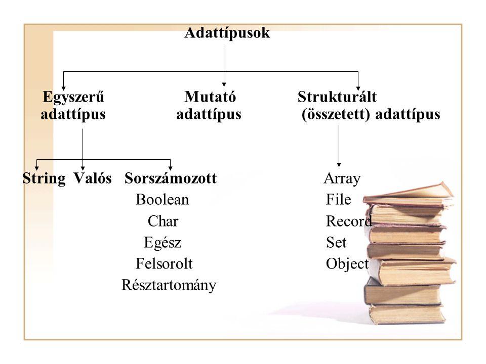 Adattípusok Egyszerű Mutató Strukturált adattípus adattípus (összetett) adattípus.
