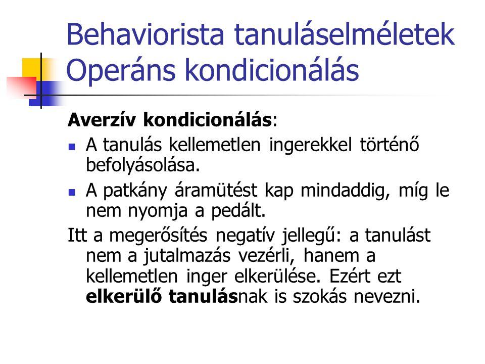 Behaviorista tanuláselméletek Operáns kondicionálás