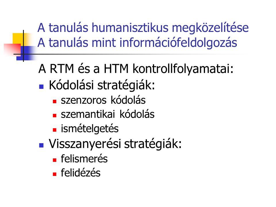 A RTM és a HTM kontrollfolyamatai: Kódolási stratégiák:
