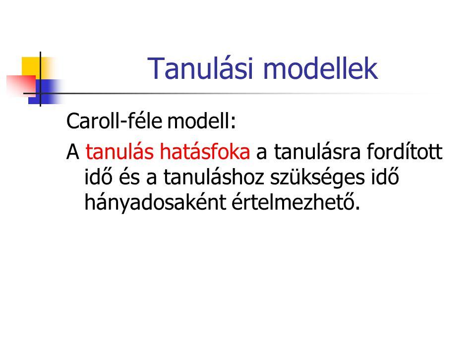 Tanulási modellek Caroll-féle modell: