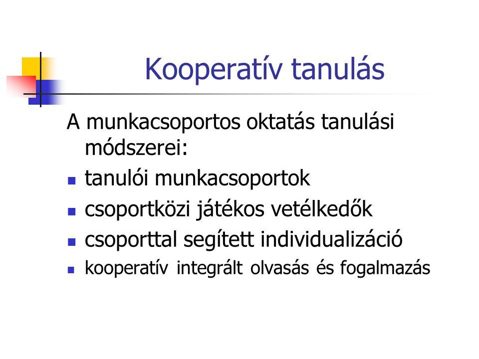 Kooperatív tanulás A munkacsoportos oktatás tanulási módszerei: