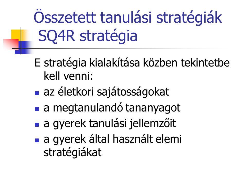 Összetett tanulási stratégiák SQ4R stratégia