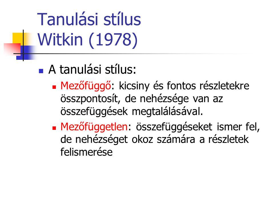 Tanulási stílus Witkin (1978)