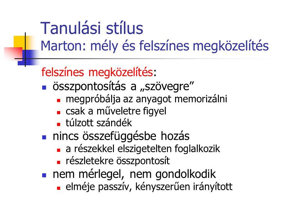 Tanulási stílus Marton: mély és felszínes megközelítés