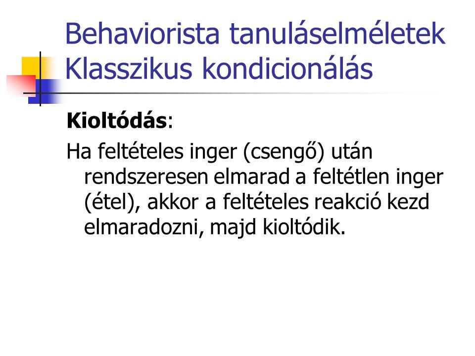 Behaviorista tanuláselméletek Klasszikus kondicionálás