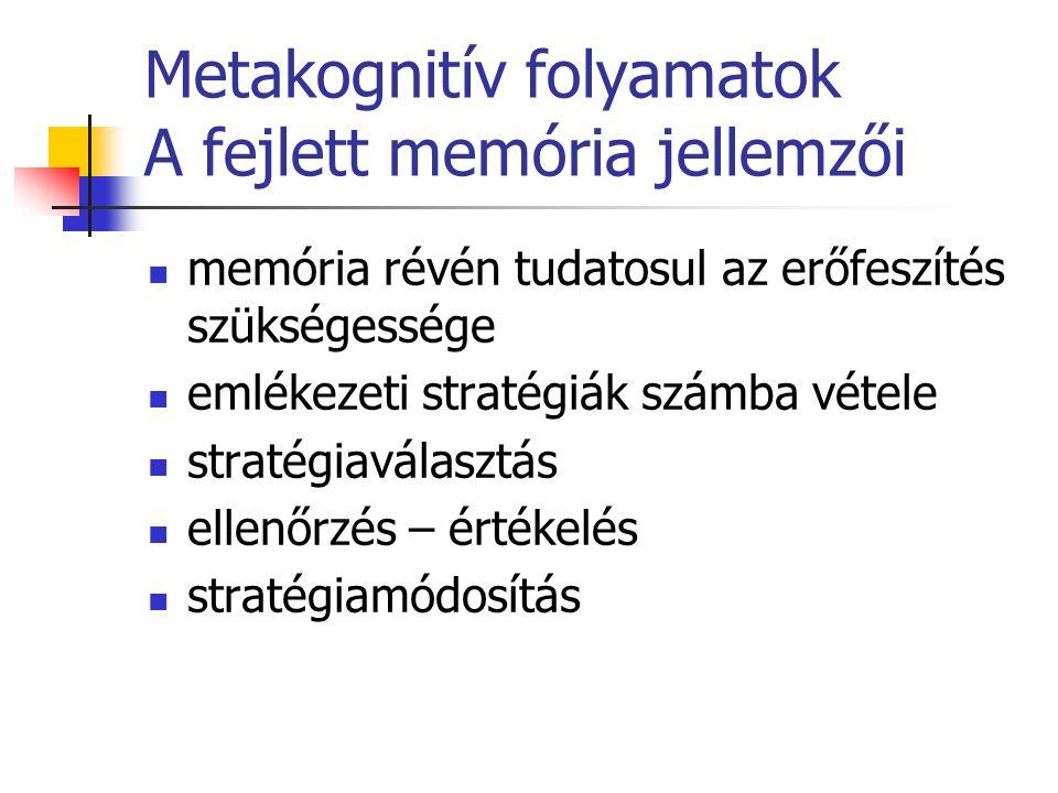 Metakognitív folyamatok A fejlett memória jellemzői