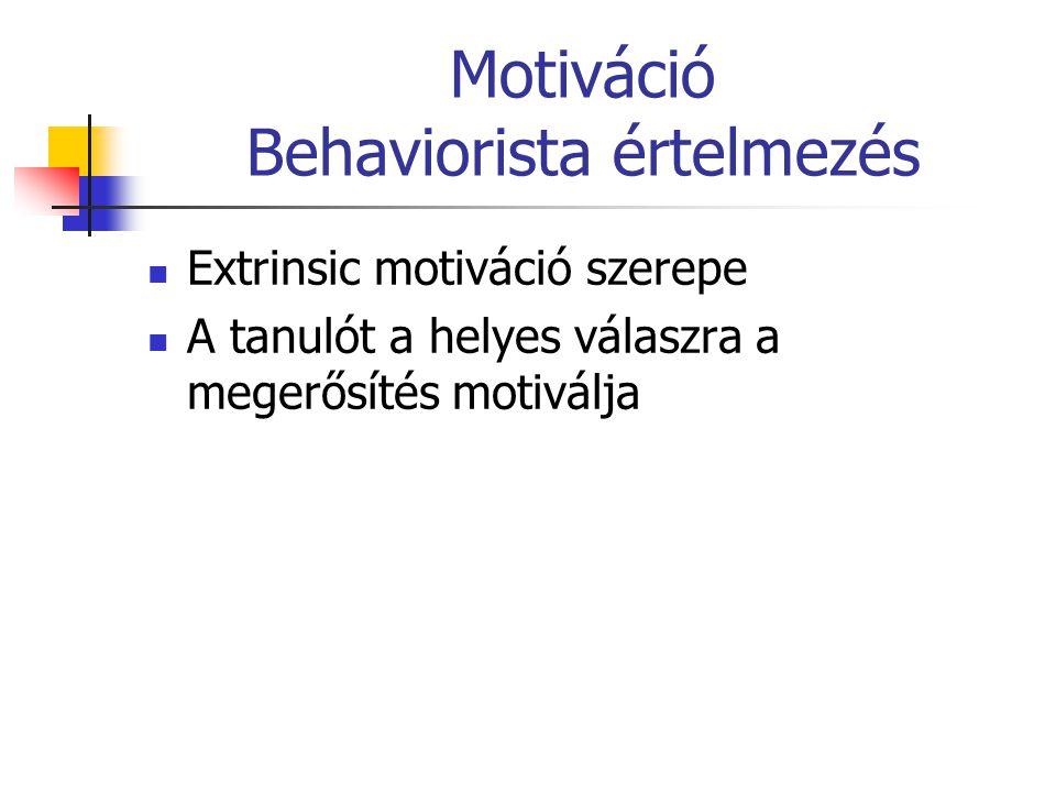 Motiváció Behaviorista értelmezés