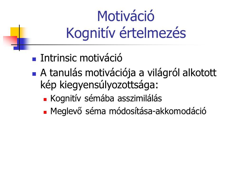 Motiváció Kognitív értelmezés