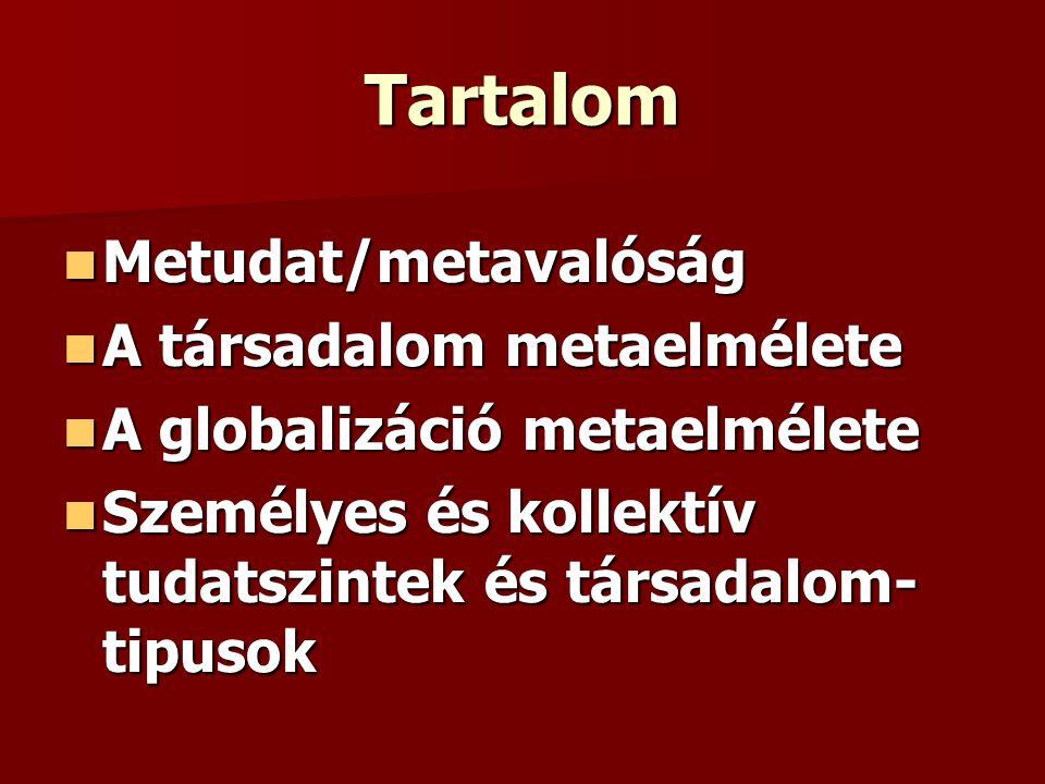 Tartalom Metudat/metavalóság A társadalom metaelmélete