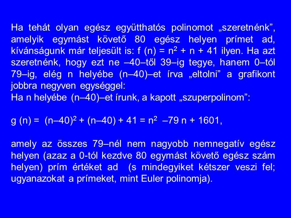 """Ha tehát olyan egész együtthatós polinomot """"szeretnénk , amelyik egymást követő 80 egész helyen prímet ad, kívánságunk már teljesült is: f (n) = n2 + n + 41 ilyen. Ha azt szeretnénk, hogy ezt ne –40–től 39–ig tegye, hanem 0–tól 79–ig, elég n helyébe (n–40)–et írva """"eltolni a grafikont jobbra negyven egységgel:"""