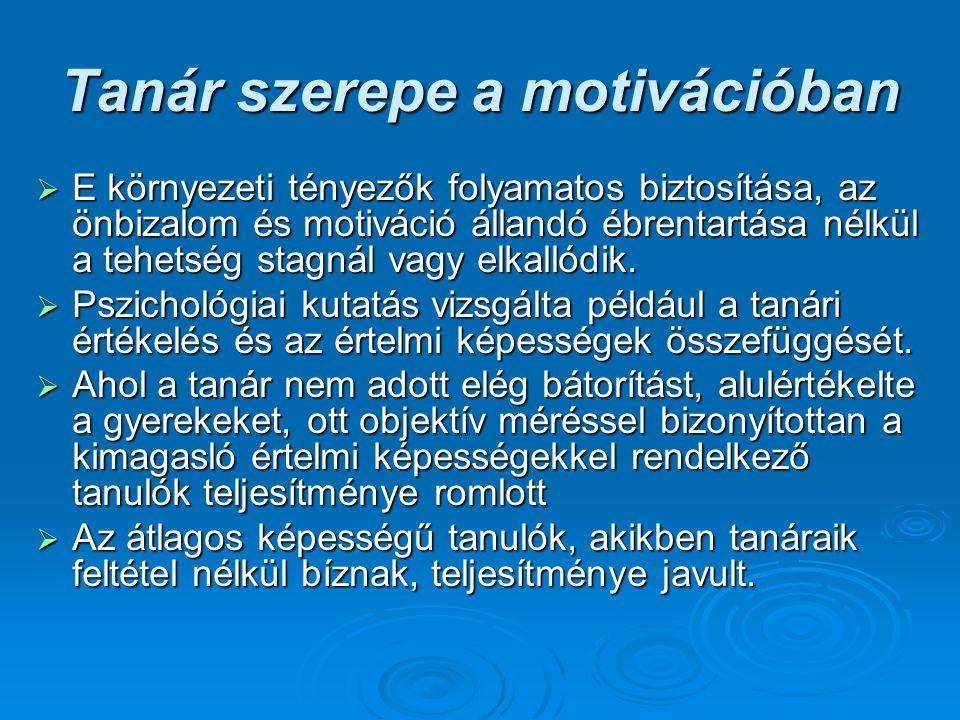 Tanár szerepe a motivációban