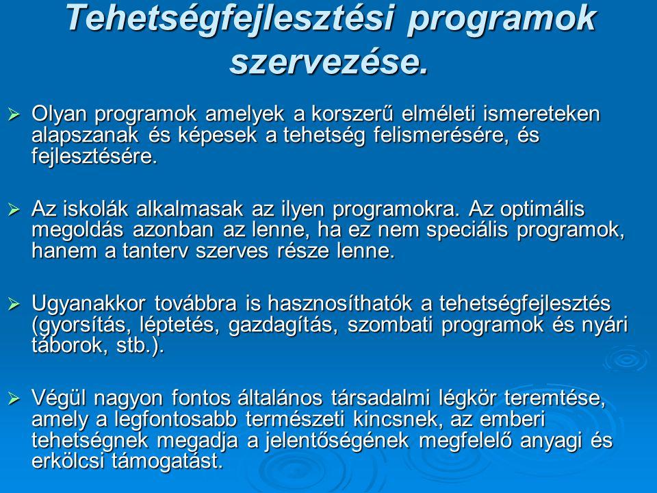 Tehetségfejlesztési programok szervezése.