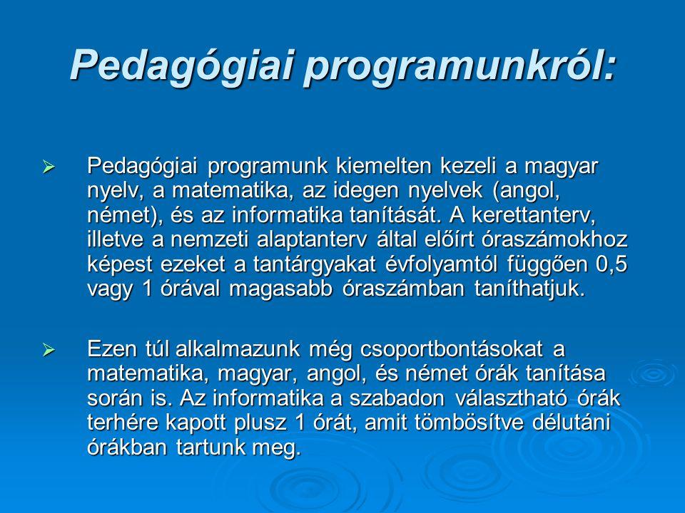 Pedagógiai programunkról: