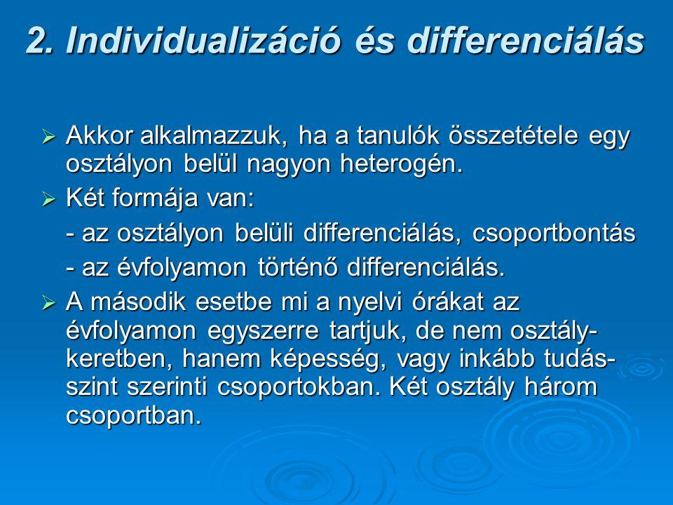 2. Individualizáció és differenciálás