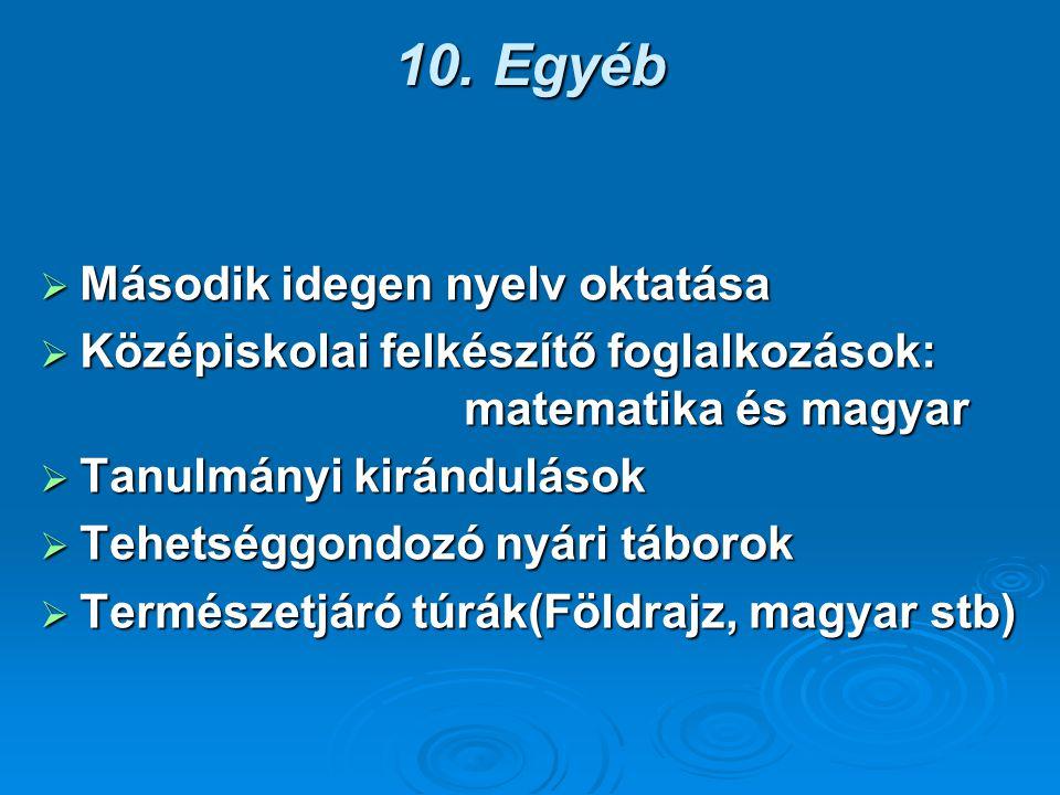 10. Egyéb Második idegen nyelv oktatása