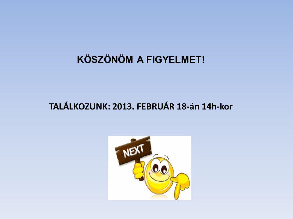 TALÁLKOZUNK: 2013. FEBRUÁR 18-án 14h-kor