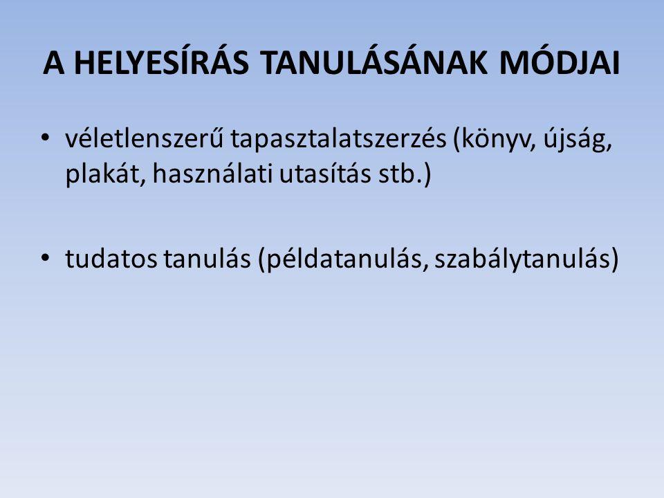 A HELYESÍRÁS TANULÁSÁNAK MÓDJAI