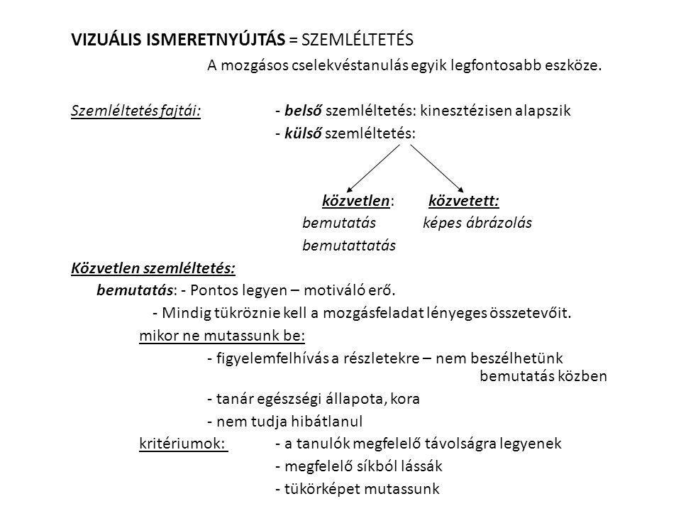 VIZUÁLIS ISMERETNYÚJTÁS = SZEMLÉLTETÉS