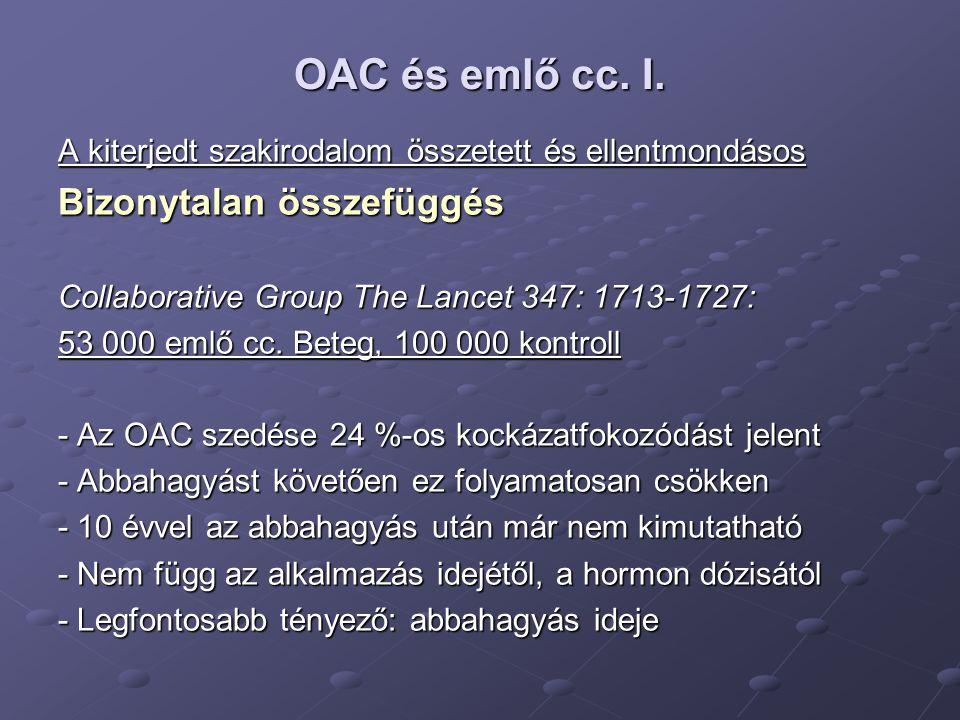 OAC és emlő cc. I. Bizonytalan összefüggés