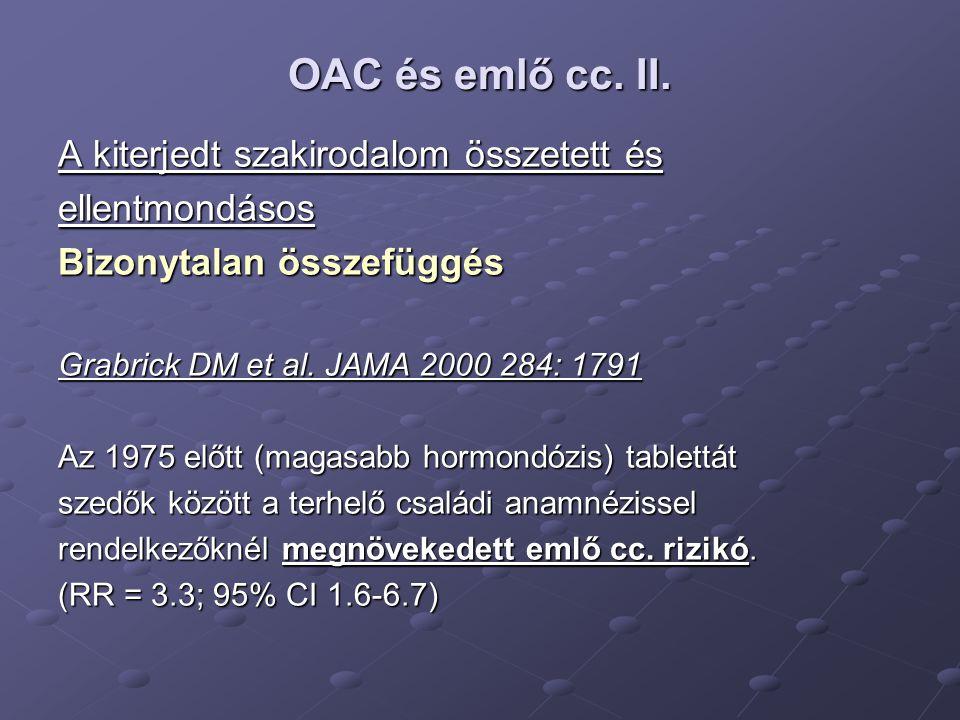 OAC és emlő cc. II. A kiterjedt szakirodalom összetett és